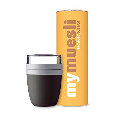 mymuesli 2Go Müslibecher Probierpaket – 2Go Becher schwarz (300ml & 500ml) & mymuesli Honig-Nuss Bio-Müsli (575g) – Hergestellt in Deutschland aus 100% Bio-Zutaten