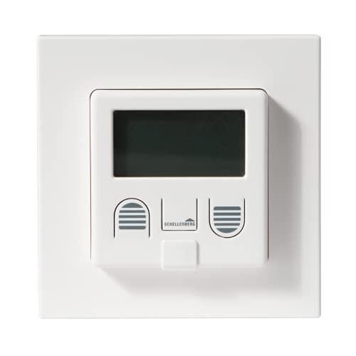 Schellenberg 25572 Zeitschaltuhr PLUS zur Rolladensteuerung mit Display, Wandtaster für Unterputzmontage, Programmierbare Automatik mit u.a. Tagesprogramm, Zufallsfunktion