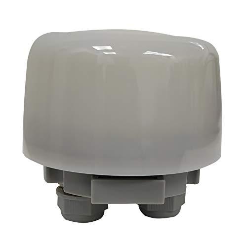 Interruptor crepuscular Exterior. Fotocelula. Sensor fotoelectrico Dia/noche. Ajustable. Protección contra Lluvia (Ip65).
