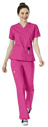 WonderWink Origins Women's Medical Uniforms Scrubs Set Bundle- 6016 Bravo V-Neck Scrub Top & 5026 Romeo Flare Leg Drawstring Pants & MS Badge Reel (Hot Pink - Medium - Medium)