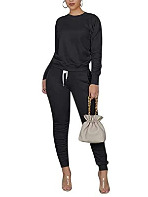 Womens Two Piece Outfits Jogger Suit Long Sleeve Pullover TopsPants Set Tracksuit Sweatsuits