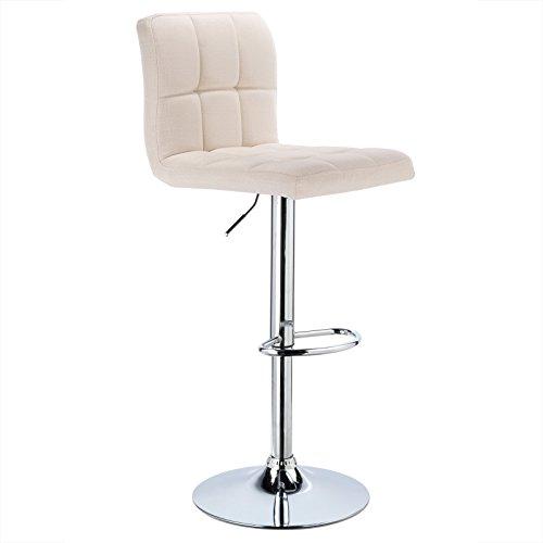 WOLTU® 1 x Barhocker Barstuhl Tresenhocker Stuhl drehbar und höhenverstellbar Tresen Hocker Leinen Cremeweiß BH32cm-1