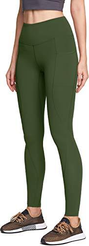 Aatika Damen Yogahose mit hoher Taille mit Taschen, Bauchweg-Yoga-Leggings, 4-Wege-Stretch-Workout-Laufhose, Damen Mädchen, Seitentasche (yp714) - Olivgrün, XX-Small [Size 2-4_Hip31-33 Inch]