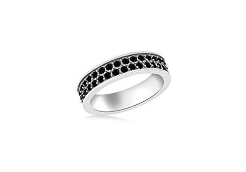 Tuscany Silver Damen Sterling Silber Überzogen mit Rhodium Doppelt Reihen 1 mm Schwarz Kristall Pave Set Band Stacking Ring 57 (18.1) mm