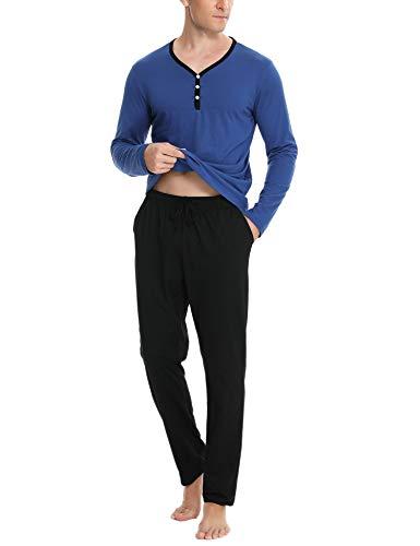 Aibrou Zweiteiliger Herren Schlafanzug Lang Pyjamas Baumwolle Nachtwäsche Langarm Hausanzug Sleepwear mit Knöpfleiste Schwarz+Balu XXL