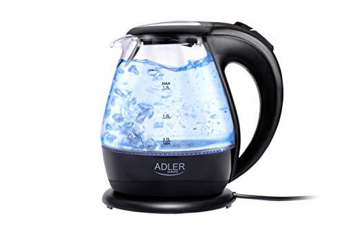 Adler AD-1224 AD 1224-Hervidor de Agua, 1,5 litros, Color Negro, 2000 W, 1.5 litros, 0 Decibeles, Cristal