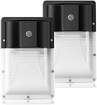 2-Pack JMKMGL 13W 1600-Lumen LED Wall Light with Photocell