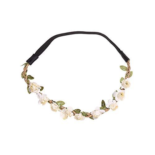 Yazilind Kleine Rose Blume Stirn Haar Stirnband Haar Crown Sommer Festival Garland Braut Hochzeit Kopfbedeckungen Weiß
