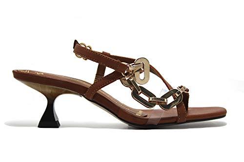 PEDRO MIRALLES - Sandalia de tacón bajo, cadena dorada de adorno, de piel, suela de goma, para: Mujer color: TABACO talla:39
