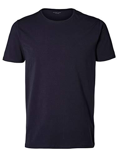 Selected Pima - Débardeur - Uni - Col ras du cou - Manches courtes - Homme - Bleu (Night Sky) - Medium (Taille fabricant: M)