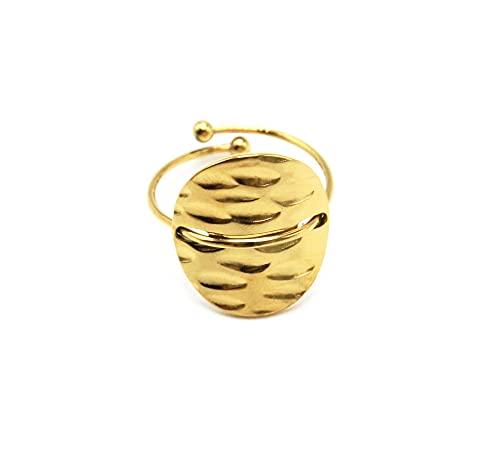 Oh My Shop BG1463 - Anillo fino con medalla redonda martillada acero dorado