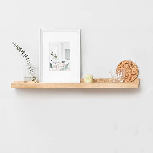 60cm rustico in rovere massiccio legno blocco galleggiante staffa a parete scaffale decorativo da appendere Picture Ledge