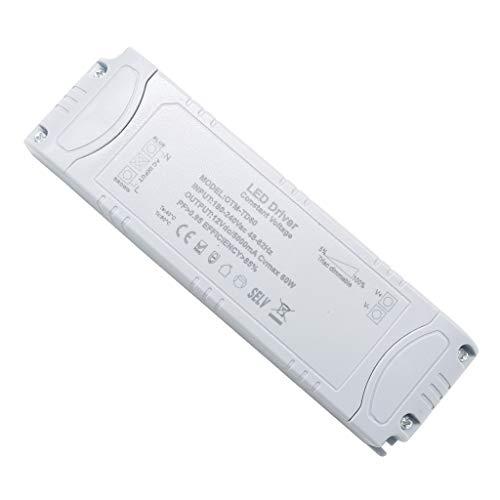 VARICART IP44 12V 5A 60W TRIAC Dimmbar LED Treiber, Universal Reguliertes AC DC Schaltnetzteil, Konstanter Spannungswandler Adapter für LED-Streifen G4 MR11 MR16 GU5.3 Glühbirne (1-er Packung)