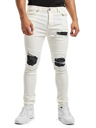 Sixth June Herren Jeans Skinny Denim mit Inside Bandana Yoke Gr. W32, weiß