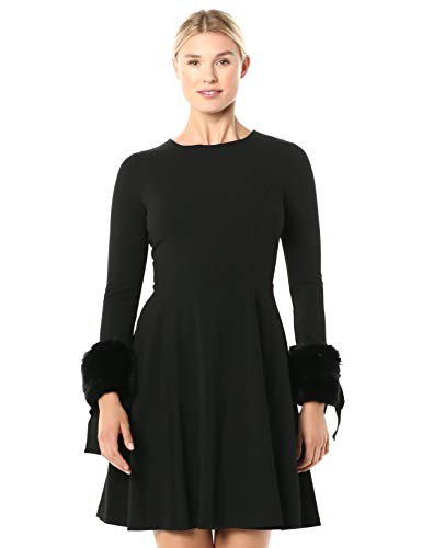Calvin Klein Women's Long Sleeve Fit and Flare Dress with Faux Fur Trim, Black 2, 4
