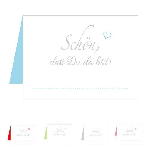 Edition Seidel Set 50 Premium Tischkarten Tischkärtchen Platzkarten Namenskarten Hochzeit - Geburtstag - Taufe - Kommunion - Konfirmation - Firmung - Jugendweihe - Goldene Hochzeit (Hellblau Blau)
