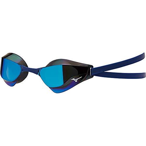Mizuno GX-Sonic Racing Mirrored Swim Goggle, Smoke Blue, One Size Fits All