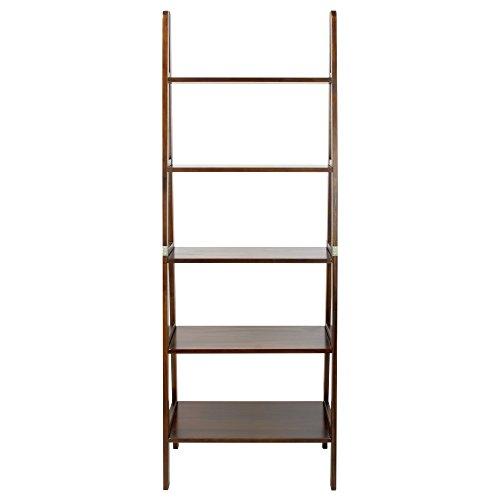 Casual Home 5-Shelf Ladder Bookcase, Warm Brown