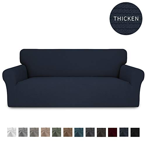 Easy-Going Thickened Stretch Slipcover, Sofa Cover, Furniture Protector with Elastic Bottom, 1 Piece Couch Shield, Sturdy Fabric Slipcover Pets,Kids,Children,Dog,Cat (Sofa,Navy)