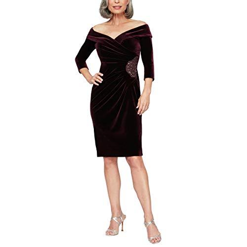 Alex Evenings Women's Short Off The Shoulder Velvet Dress (Petite and Regular), Aubergine, 4P
