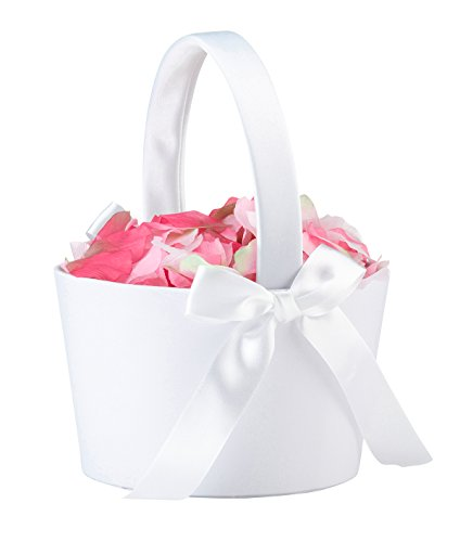 Lillian Rose FB100 W Elegant Simple Large Flower Girl Basket, White