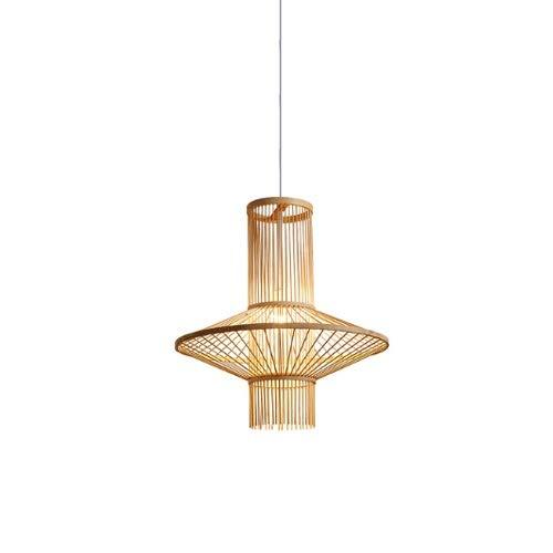 ZGZRXGY Mano tejida de forma irregular araña de doble capa asiática creativa ratán arte colgante iluminación sudeste asiático estilo restaurante lámpara de decoración moderna minimalista arte de bambú