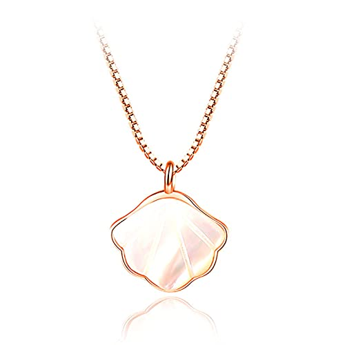 Kfmysm Collar Mujer S925 Plata de Ley Luz de Lujo Nicho Clavícula Cadena Blanco Madre-de-Perla Colgante Shell Collar