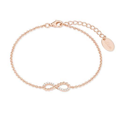 s.Oliver Armband für Damen aus rosévergoldetem 925er Sterling Silber