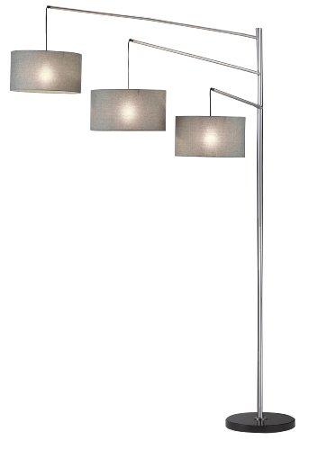 "Adesso 4255-22 Wellington 91"" Arc 3-Light Floor Lamp, Satin Steel, Smart Outlet Compatible"