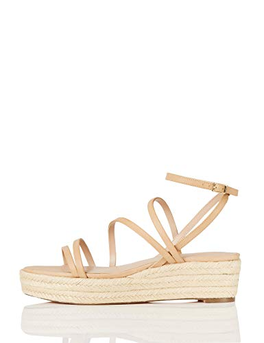 Marchio Amazon - find. Strippy Wedge Espadrille Sandalo Espadrillas con Zeppa, Beige (Natural), 36 EU