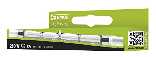 EMOS Halogen-Röhre 230 W, Länge: 118 mm (11,8 x 1 cm), ECO Halogenstablampe, Energieklasse C, Warmweiß 2700 K, 5100 lumen, R7S-Sockel, J118 230V/230W, 1 Stück, Glas, Transparent, 1-er Pack