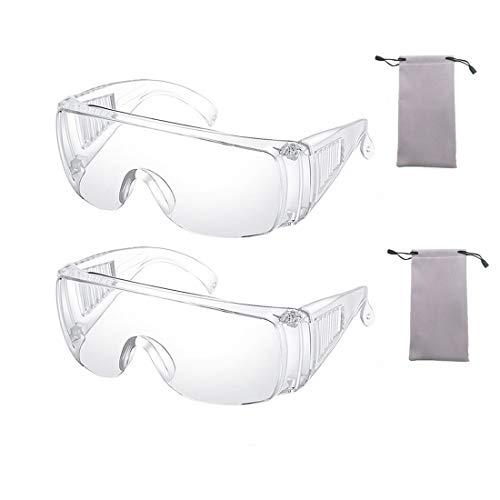 GVUSMIL 2 Piezas Claro Seguridad Lentes Personal Protector Equipo Transparente Gafas Protección UV Proteccion Adulto Terminado Lentes para Construcción, Laboratorio, Química Clase