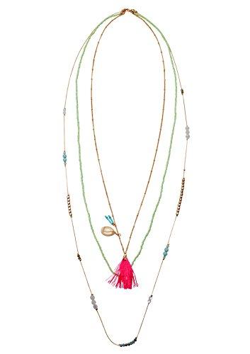Happiness Boutique Damen Mehrreihige Kette mit Quaste Tassel Anhänger und Muschelschale | Lange Bunte Halskette Geschichtet