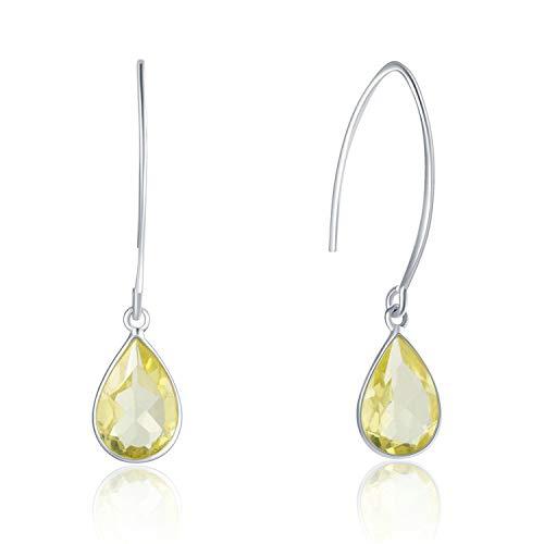 Gymqian Novedad Jewelry925 Pendientes colgantes de plata de ley para mujer Pendiente de plata con forma de lágrima de limón