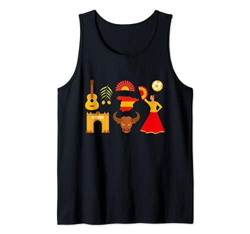 España Español Iconos Bandera Soccer Bull Souvenir Camiseta sin Mangas
