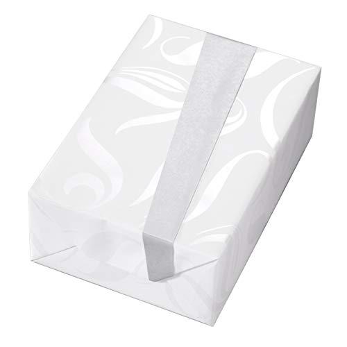 Geschenkpapier Rolle 50 cm x 50 m, Ontario, perlglanzfarbene, florale Elemente auf weißem Fond mit silberfarbener Rückseite. Für Geburtstag, Hochzeit, Taufe, Weihnachten. Weihnachtsgeschenkpapier