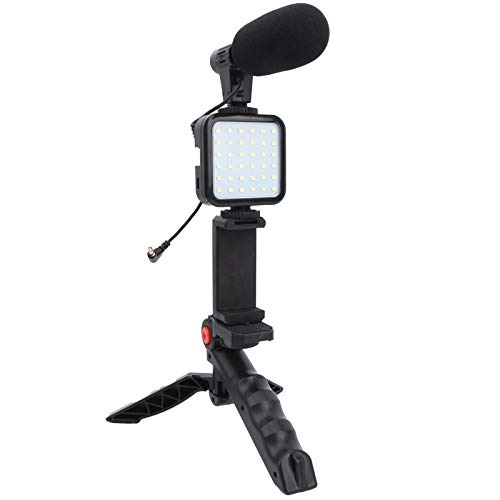 DAUERHAFT Fill Light Micrófono Trípode Video Fotografía Set Phone Live Set Fill Light Compacto y portátil para Interior o Exterior para grabación de Video