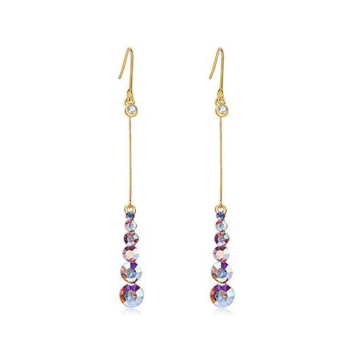 Pendientes de tendencia de moda Pendientes de diamante coloridos S925 Pendientes de aguja de plata Pendientes largos de gancho de oreja