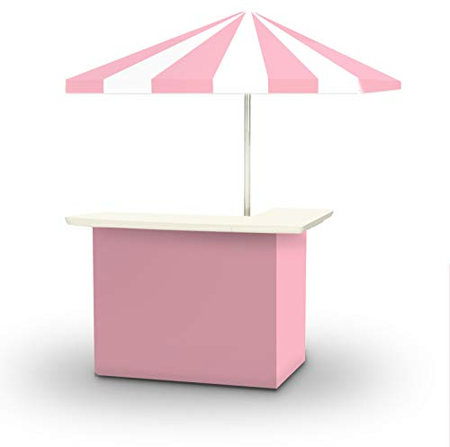 Best of Times 2001W2503 Parlour Ice Cream Portable Bar and 8 ft Tall Square Umbrella, Water Resistant, UV Protected, Interchangeable Fabric Cover, One Size, Pink White