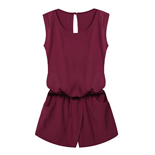Women Playsuit Jumpsuit Casual Sexy Lady Sleeveless Waist Print Mini Romper Overall,Wine Red,M