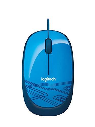 Logitech M105 Maus mit Kabel, 1000 DPI Optischer Sensor, USB-Anschluss, 3 Tasten, Für Links- & Rechtshänder, PC/Mac - Blau, Englische Verpackung