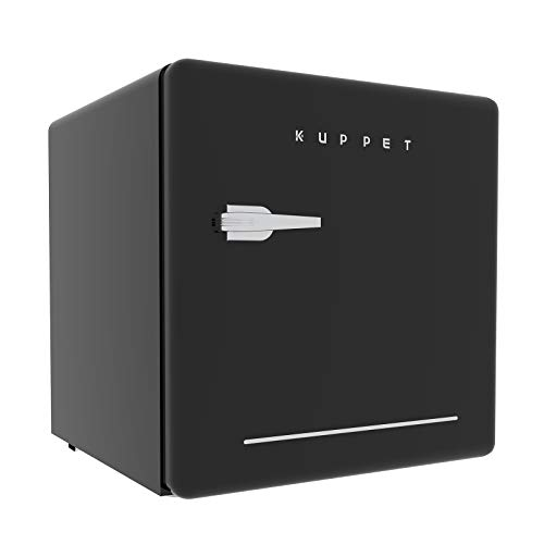 KUPPET Classic Retro Compact Refrigerator Single Door, Mini Fridge with Freezer, Small Drink Chiller for Home,Office,Dorm, Small beauty cosmetics Skin care refrigerated for home,1.6 Cu.Ft (Black)