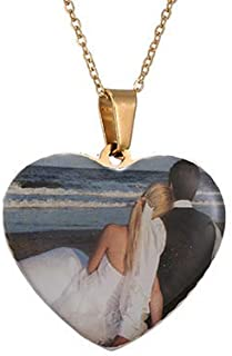 Personalized Picture Necklace Custom Photo Text Heart Necklace Engraved Any Name Customized Silicone Photo Dog Tag Stainless Steel Necklaces for Women Girl Jewelry
