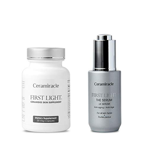 First Light Duo Pack by Ceramiracle   Ceramides Skin Supplements & Serum   30 Day Supply…