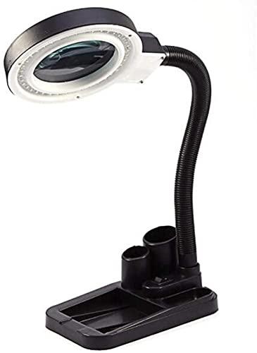 dh-7 Lámpara de lupa de 5 aumentos: luz de día brillante con lente iluminada – 36 LED lupa utilidad, cuello de cisne ajustable en altura para escritorio, mesa, tarea