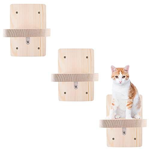 3 PCS Upgrade Cat Shelves Wall Mounted Wooden Cats Board Shelf, Kitty Activity Wall-Mounted Climber Stairs Kitten Climbing Steps Perch Flat Set, for Climbing & Playing & Lounging & Exercising