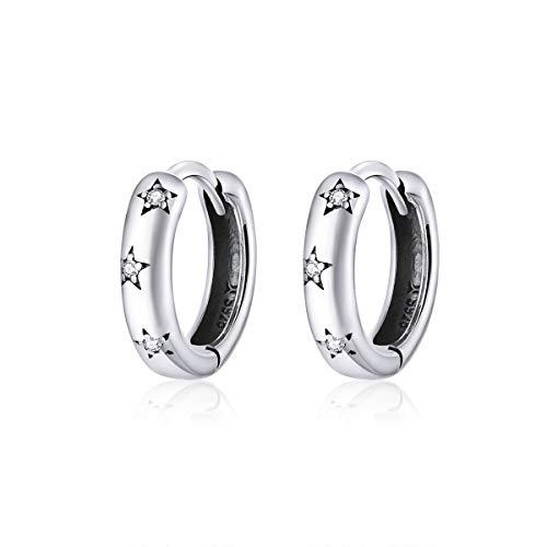 Qings Pendientes de Aro Plata de ley 925 Blanco Zirconia Cúbica Estrella Pendientes Aros Pequeños para Mujer Niña Regalo Cumpleaños