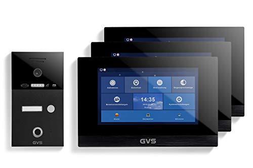 GVS IP Video Türsprechanlage, Unterputz-Türstation IP65 mit RFID und Fingerprint, 3X 10 Zoll Monitor, App, HD-Kamera 156°, Türöffner-Fkt, 32GB Speicher, PoE-Switch, 1 Familienhaus Set, AVS5265U