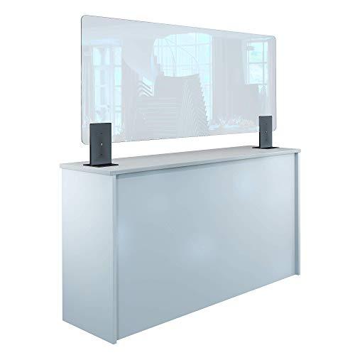 Rulopak Thekenaufsteller Trennwand/Spuckschutz Acrylglas klar mit Metallfüßen Anthrazit (Höhe justierbar) (B 150 x H 60 cm)