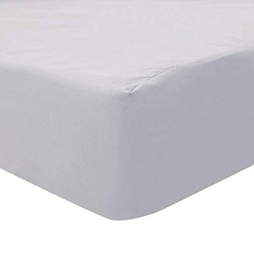 YeVhear - Sábana bajera ajustable de 200 hilos, 100% algodón, con bolsillo grande de 15 pulgadas, sábana bajera ajustable, sábana bajera ajustable de 140 x 200 cm, color gris claro